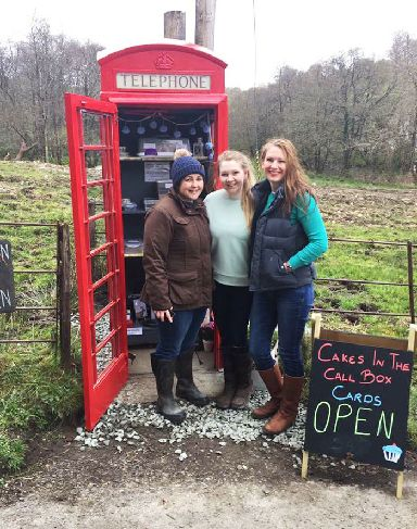 Friends Holly and Bron revamped the phonebox with help from local artist Hilary Ollason.