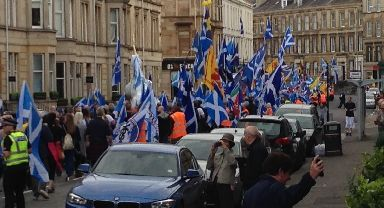 Streets: March made its way to Glasgow Green.