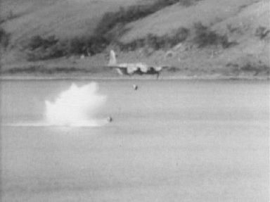Still from archive footage of Highballs being tested at Loch Striven.