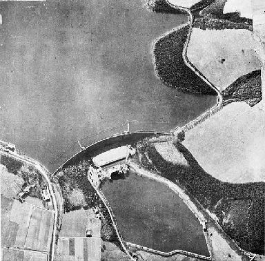 The targets: An aerial (oblique) reconnaissance photo of the Mohne Dam before the raid.