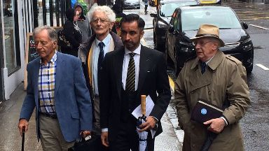 Appeal: Aamer Anwar arrives with Lockerbie campaigners.