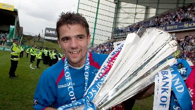 Helicopter Sunday: Nacho Novo celebrates after firing Rangers to the title in 2005.