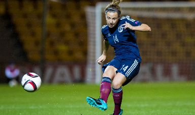 Goal threat: With 16 international strikes already to her name, Corsie provides Scotland with an added goal threat