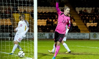 Leading the line: Responsibility will fall on Jane Ross to score the goals that see Scotland upset the odds in Group D.