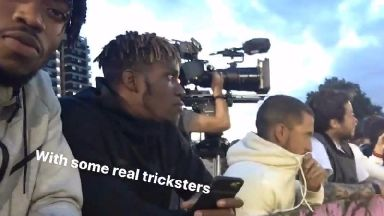 Hazard, Wilfried Zaha and Chalobah watch the action in Peckham.