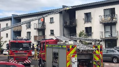 Evacuation: The fire at the block of flats started on a balcony.
