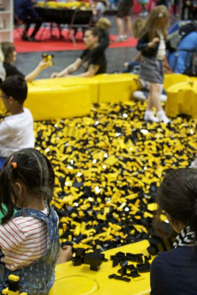 Each brick pit is filled with 300,000 lego pieces.