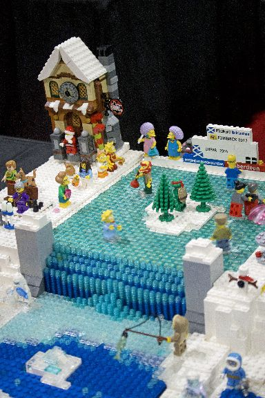 Many of the models have moving parts, including this Simpsons ice rink.