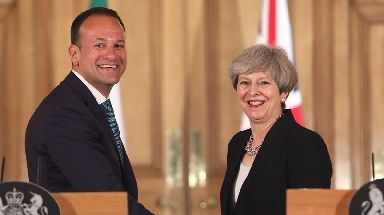 Theresa May with Taoiseach Leo Varadkar on Friday.