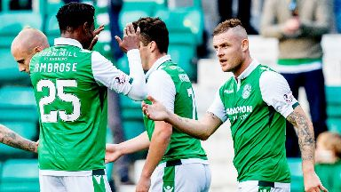 Return: Anthony Stokes celebrates with Efe Ambrose.