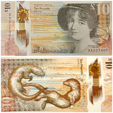 Front and back - the new £10 RBS polymer note.