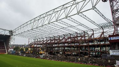 Tynecastle: Main stand undergoing reconstruction.