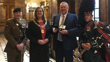 From left: Major Shearer, lord provost Eva Bolander, Tony Doherty and corporal James Muir.
