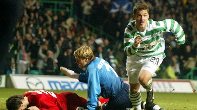 Euro goal: Maloney celebrates after scoring in Celtic's 3-1 UEFA Cup win over Stuttgart.