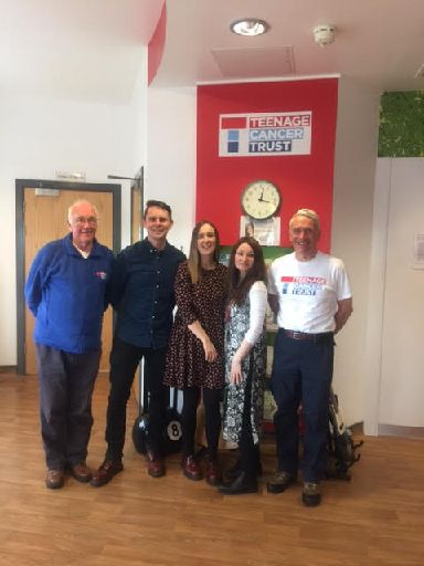 Sean meets staff at the Teenage Cancer Trust.