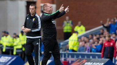 Neil Lennon: The Hibernian manager celebrates victory.