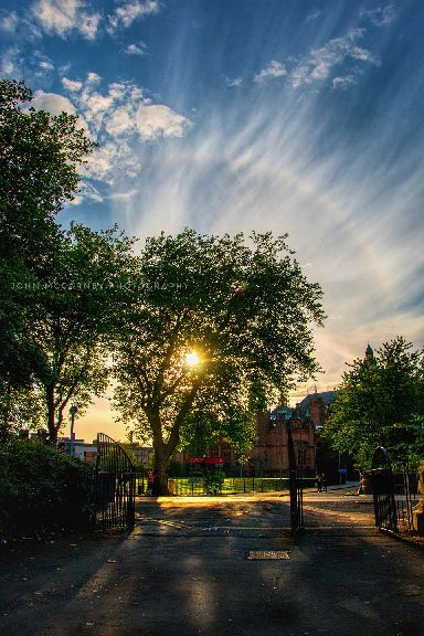 A sun halo captured at Kelvingrove Art Gallery and Museum.