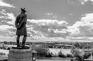 The Black Watch memorial at Powrie Brae looks over the city.