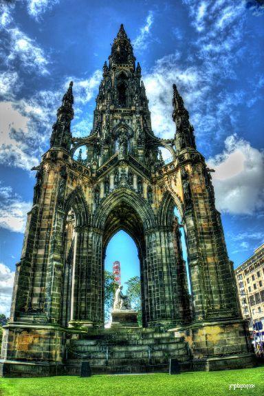Edinburgh's Scott Monument on a sunny day during the festival.