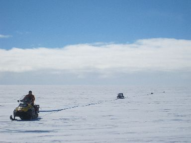 Dr Bingham helped measure ice thickness during an NERC/iSTAR expedition.