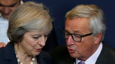 Jean-Claude Juncker (right) has delivered a fresh rebuke of Theresa May's handling of Brexit.