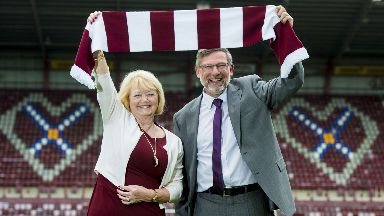 Budge and Levein are all smiles at Tynecastle.