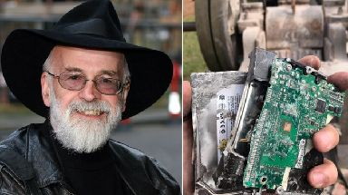 The hard drive will be included in an exhibit of Pratchett's works.