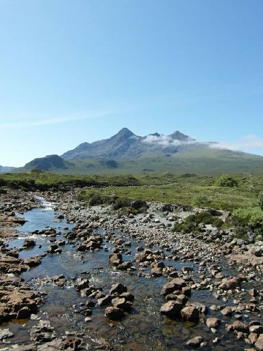A rare sunny shot from the Sligachan Bridge on Skye.