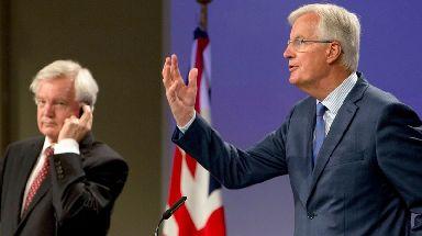 Michel Barnier (right) and David Davis have been locked in Brexit talks.