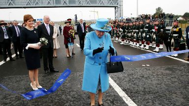 Queensferry Crossing: Nicola Sturgeon looks on as Queen cuts the ribbon.