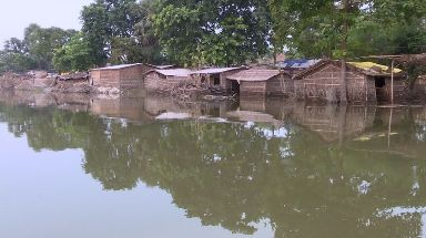 Flooded houses in the Indian state of Bihar.
