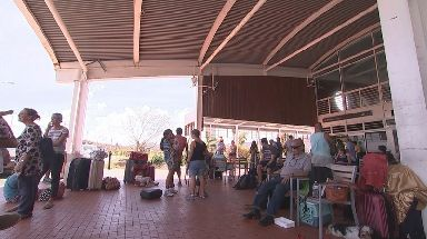 People take shelter at the airport on Beef Island after Hurricane Irma.