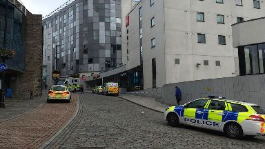 Shiprow: Car park cordoned off by police.