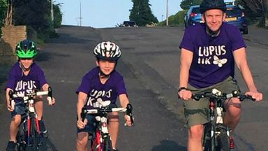 Family cycle: Luke (left), Aaron and Dave Taylor.