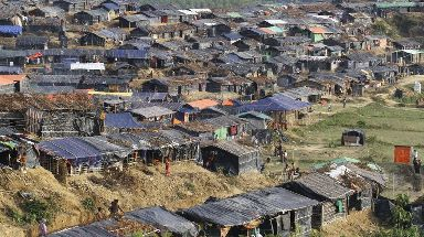 Rohingya refugee tents in Ukhiya, Bangladesh.
