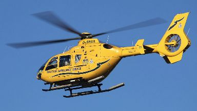 Air ambulance: Two drivers were seriously injured.