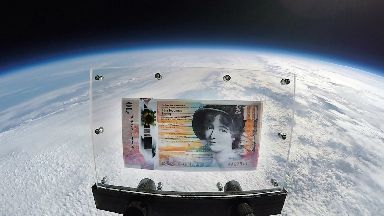 RBS note sent into space on weather baloon.