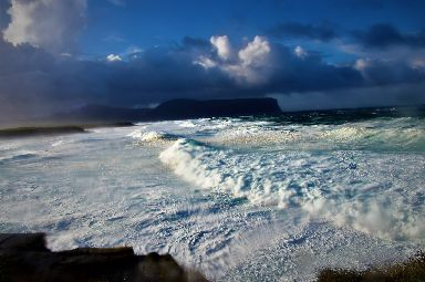 Waves roll in on Orkney.