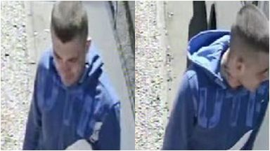 CCTV: The man had short, cropped hair and was wearing a blue hoodie.
