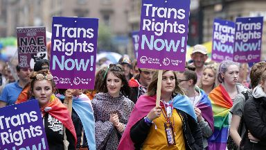 Pride: Transgender-rights activists in Glasgow.