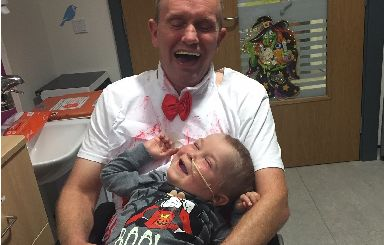Halloween: Kai and his dad enjoying some time on the ward