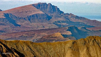 The Old Man of Storr viewed from Bla Bheinn in the Cullin Hills on Skye.