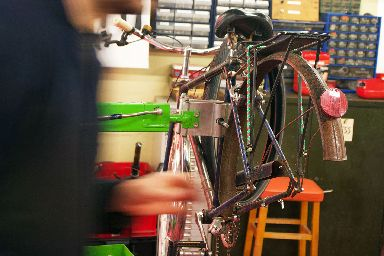 Common Wheel offers custom bicycles and repairs to the public.