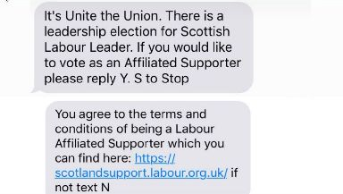 Unite: The trade union messages thousands of its members about the context.
