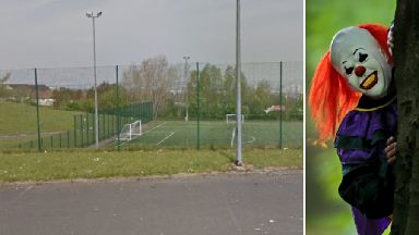 Castlemilk: Clown scared boy at Barlia Football Pitches.