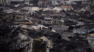 A mobile home park devastated by a wildfire in Santa Rosa.