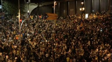 Thousands of demonstrators flooded a main street in Barcelona.