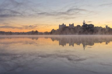 Linlithgow Palace in morning mist.