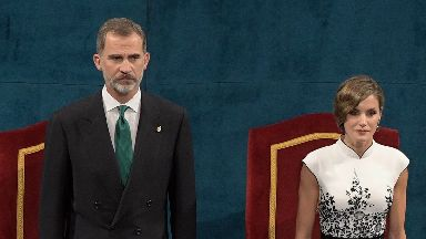 panish Kings Felipe VI and Queen Letizia during the delivery of the Princess of Asturias Awards 2017 in Oviedo.