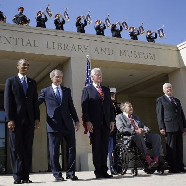 The five last came together at the opening of the George W Bush presidential library in 2013.